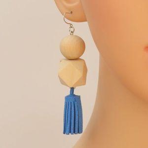 Boho Leather Tassel Drop Earrings Wood Detail